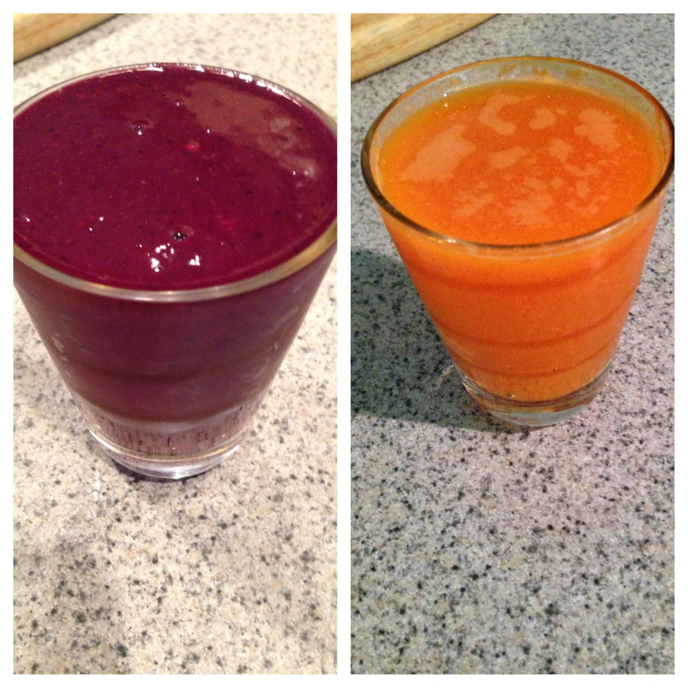 Carrot Smoothie & Berry Smoothie