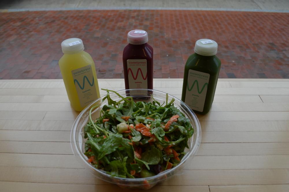 sweetgreen salad and sweet press juice