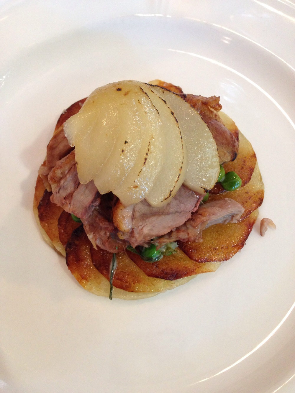 Roasted duck and peaches