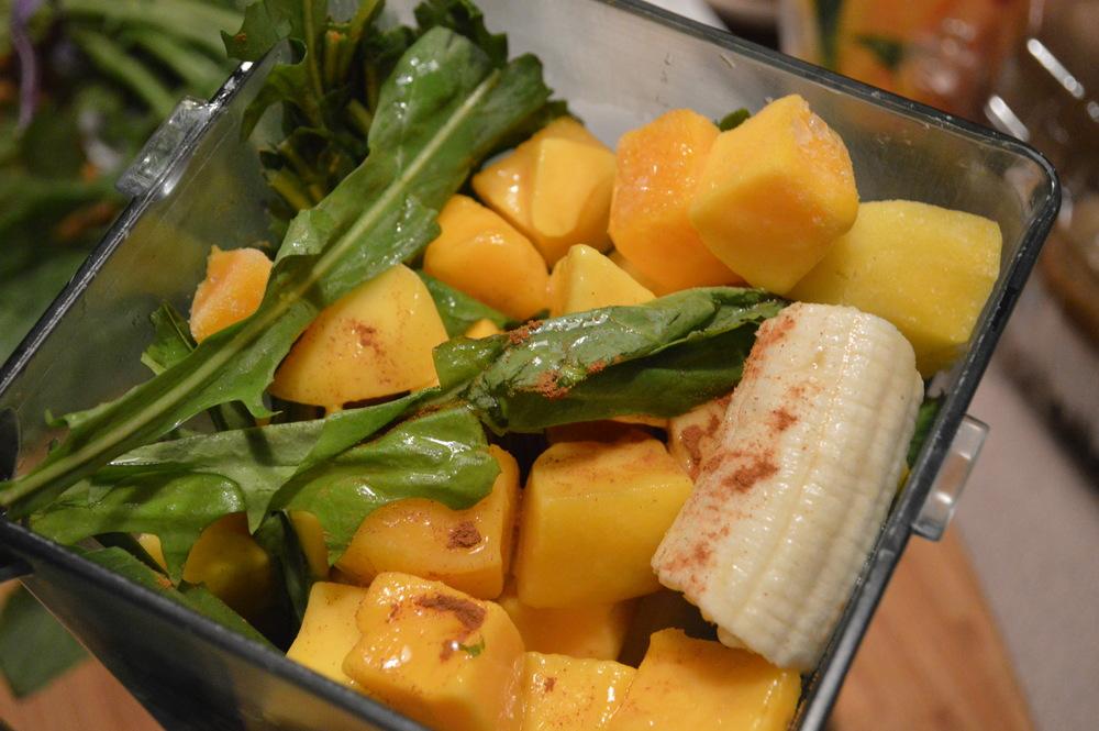 Dandelion Greens + Banana + Mango Smoothie