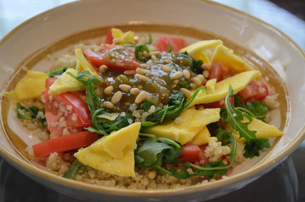 Quinoa Bowl | Eggs, Arugala, Tomato, Pine Nuts