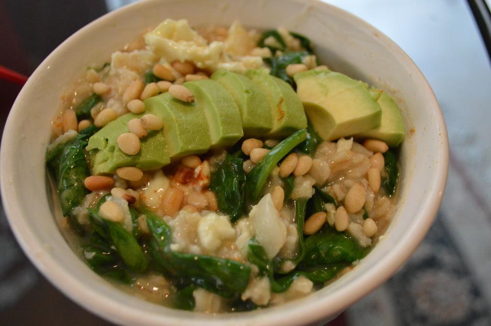 Savory Oatmeal - Onion, Spinach, Avocado & Pine Nuts