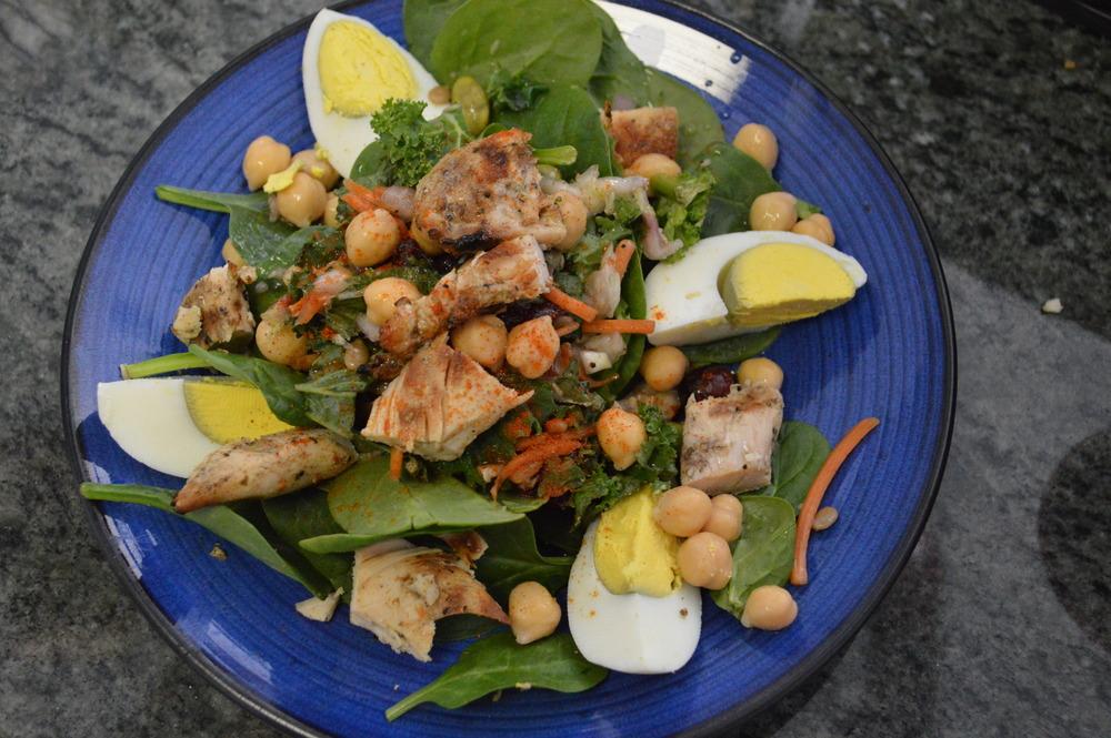 Spinach & Hard Boiled Egg Salad