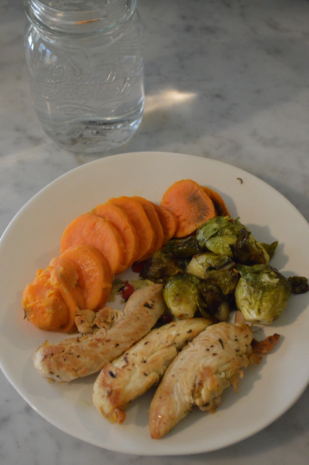 Chicken, Sweet Potato, Brussel Sprouts