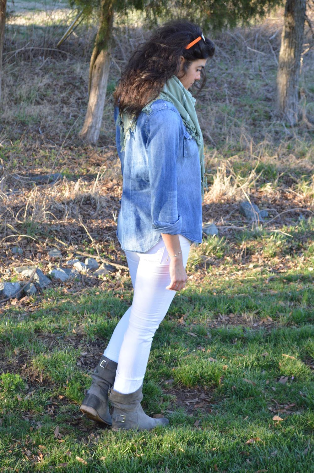 Denim Shirt + White Jeans - Lauren Schwaiger