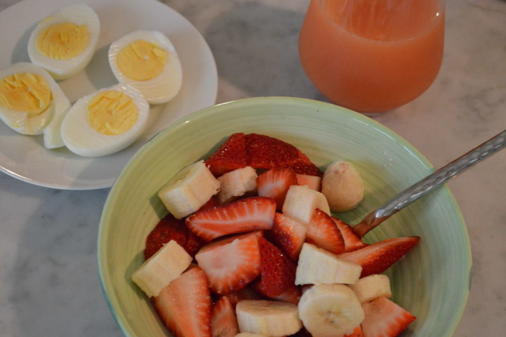 hard boiled eggs + fruit