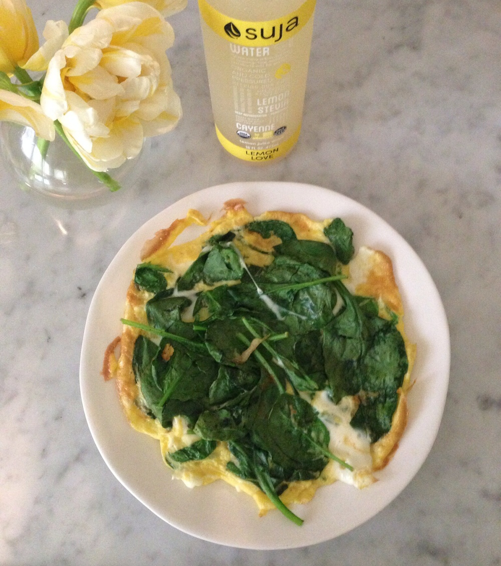 open face spinach omelette