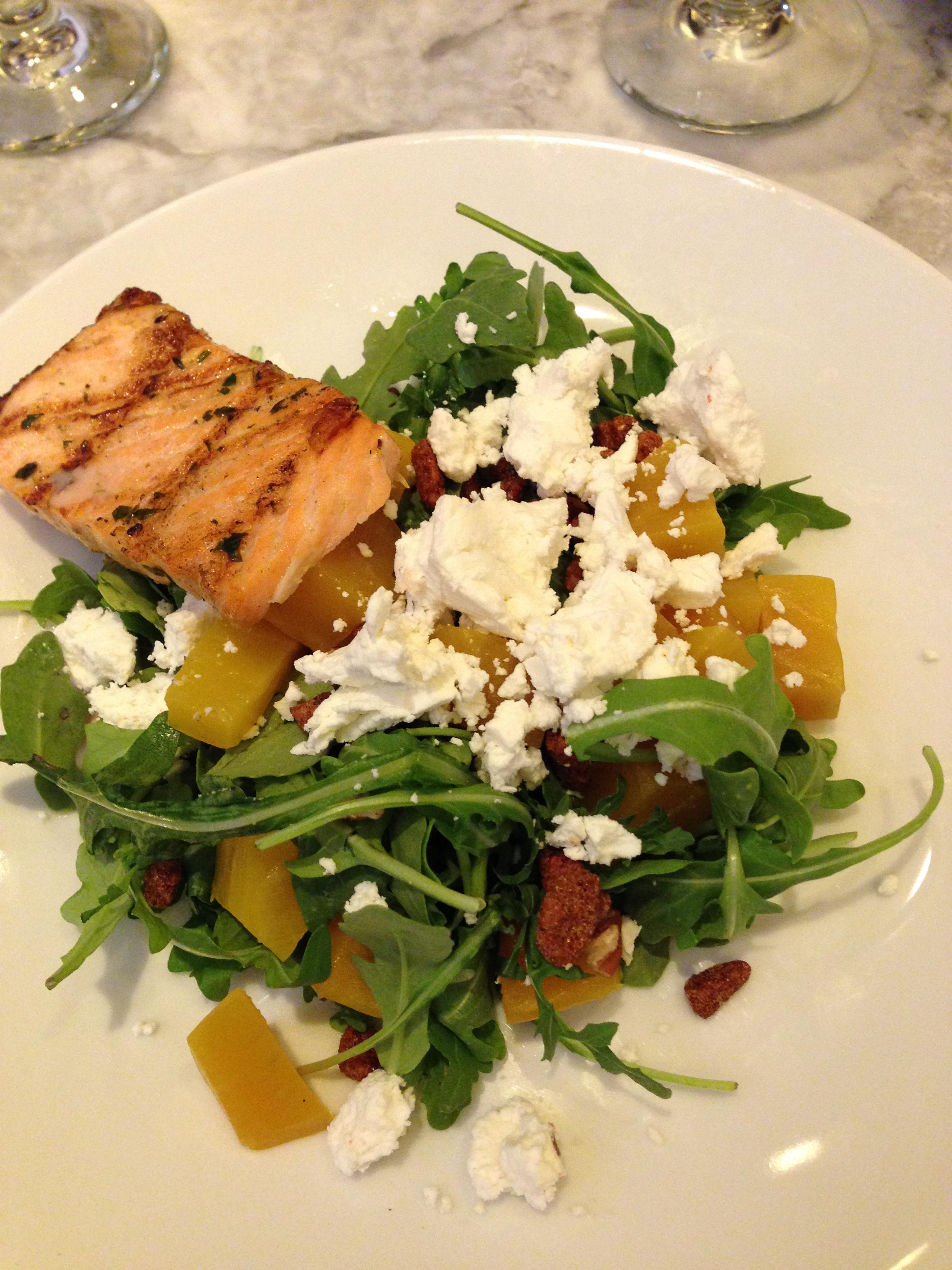 D&D Arugala, Salmon & Goat Cheese Salad