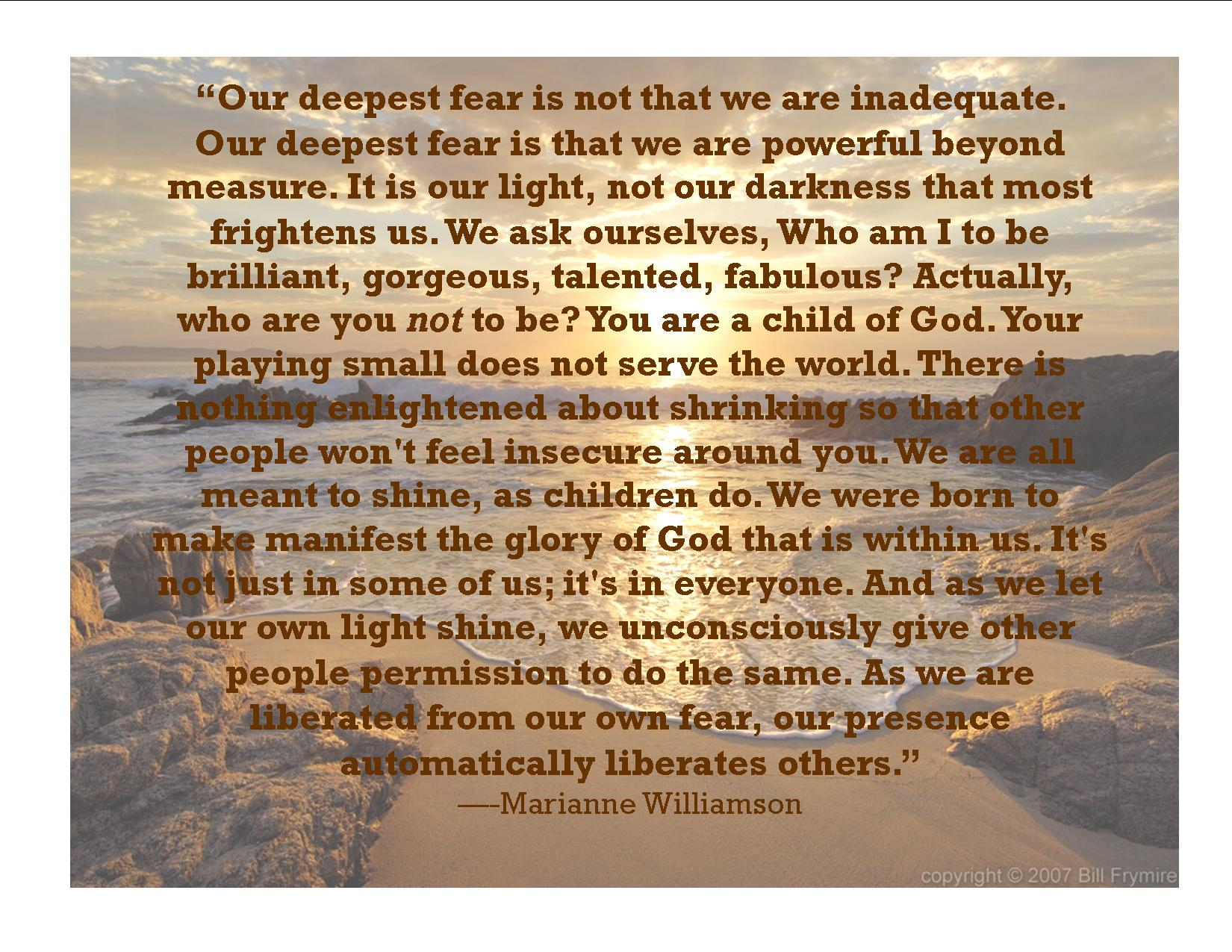 Marianne Williamson Quote - Our Deepest Fear