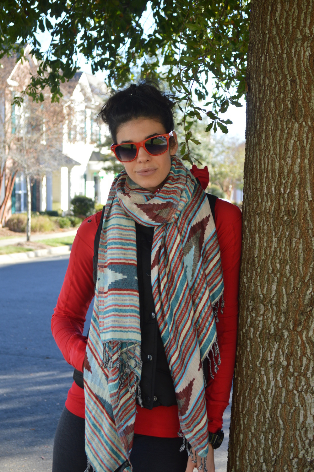 OOTD-Red+AnthroScarf