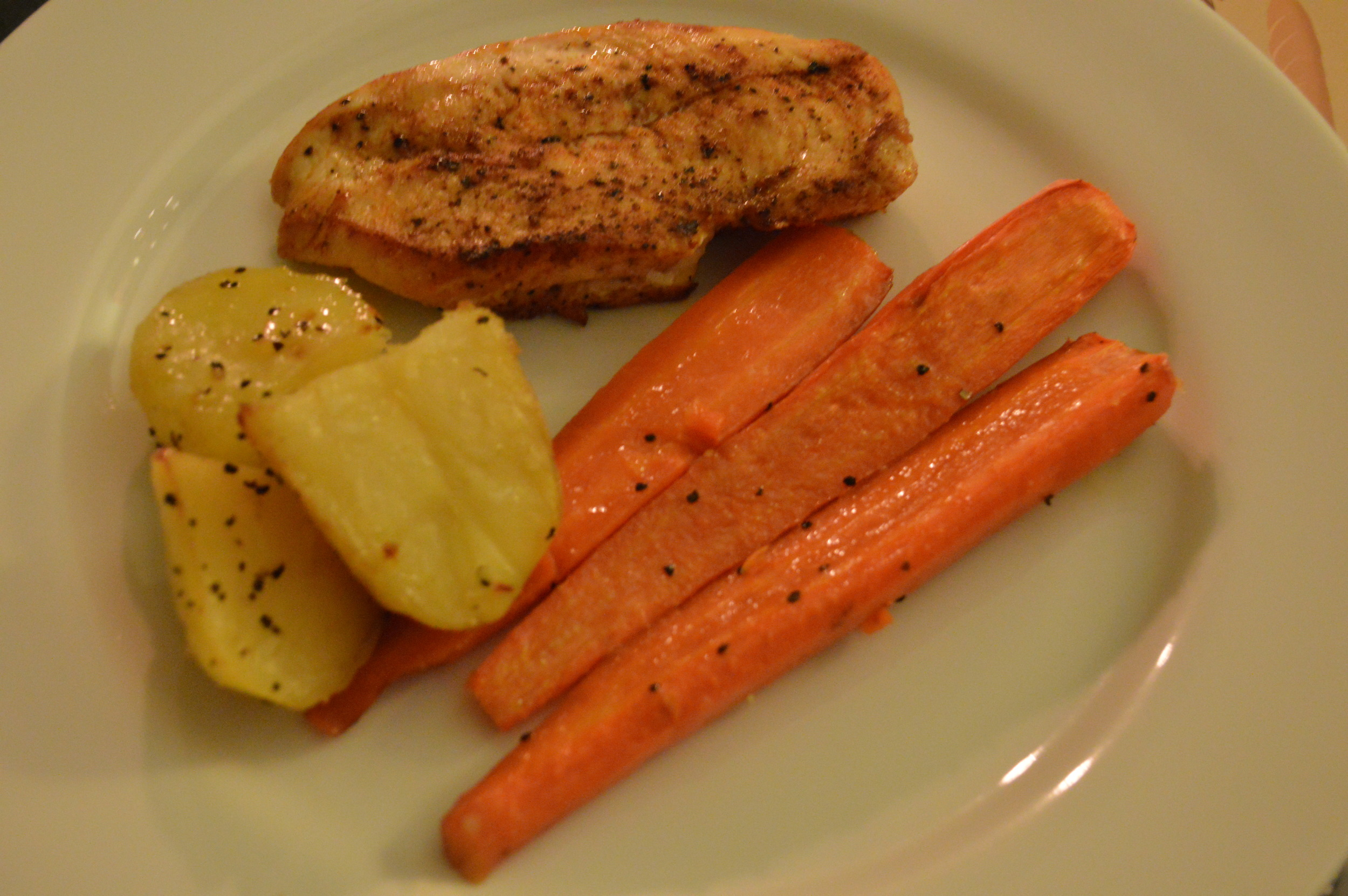 Roasted Carrots, Potatoes & Chicken