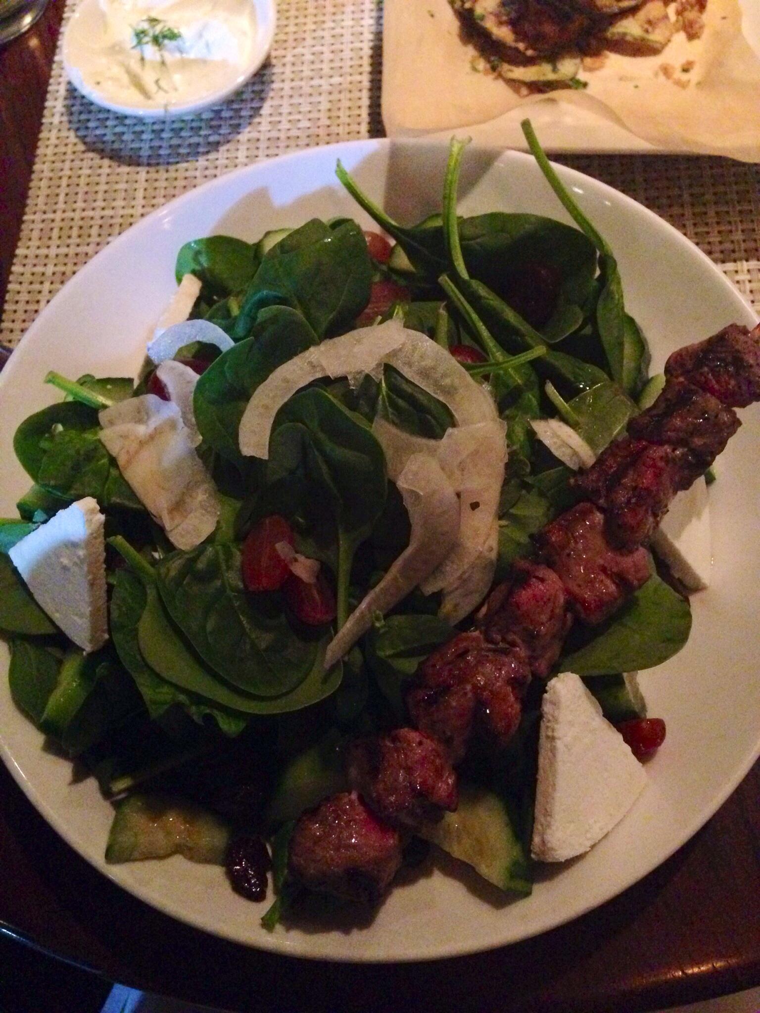 Spinach Salad w/ Lamb Skewer