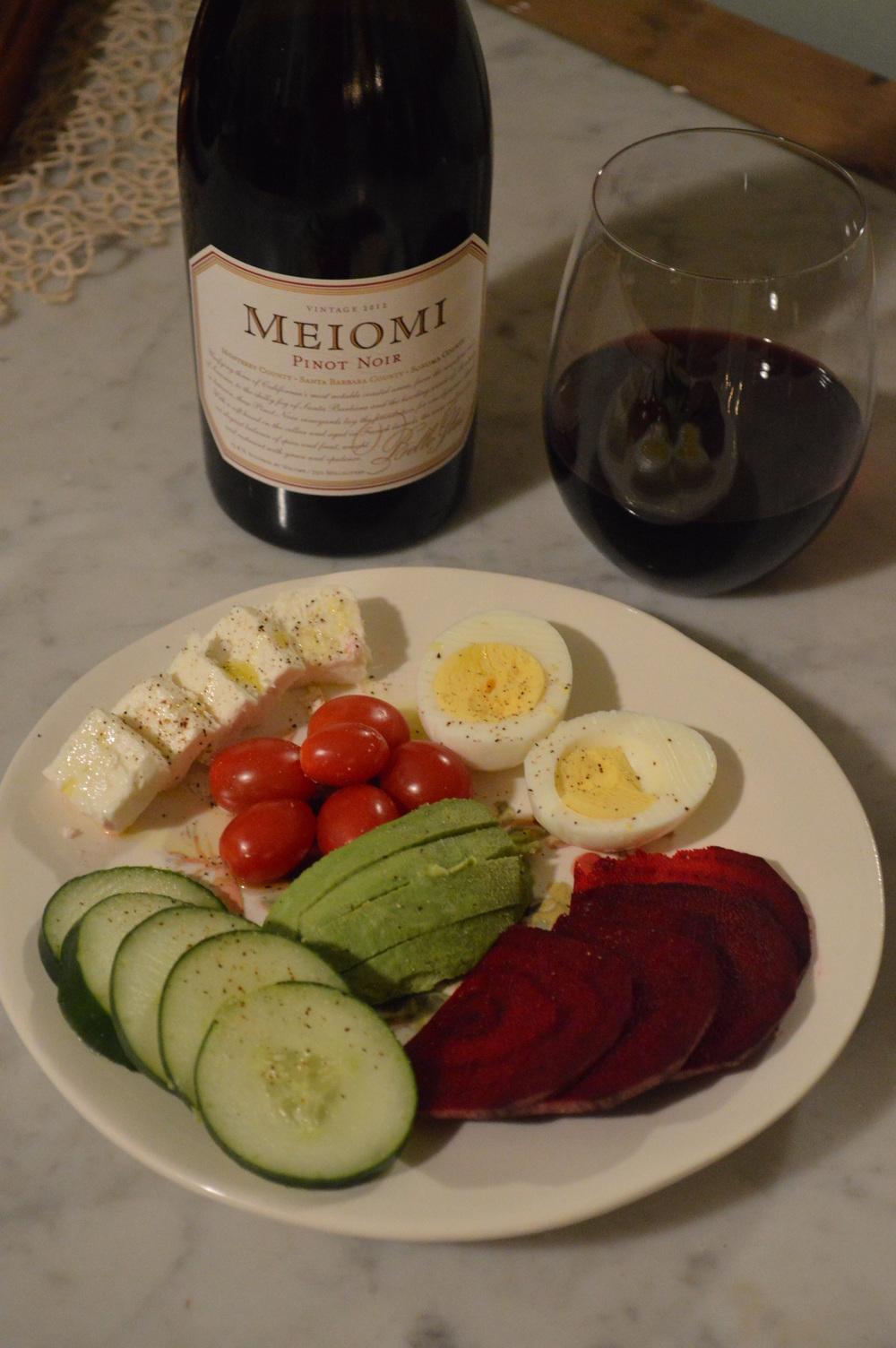 wine+rawveggies