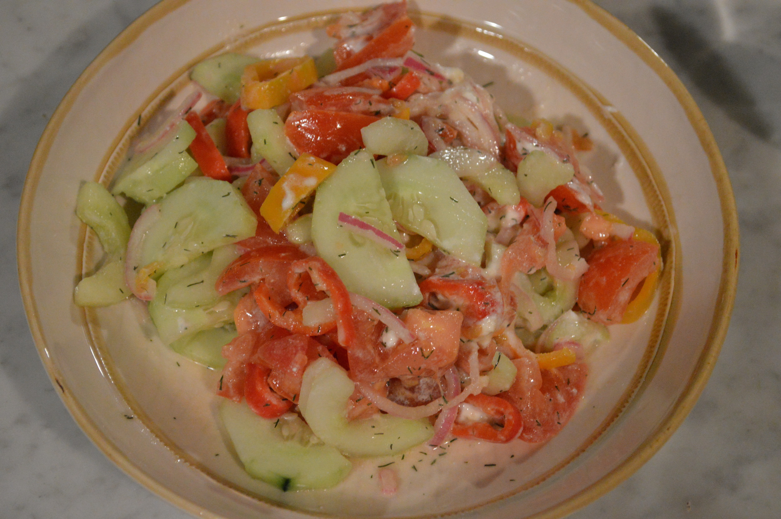 Cucumber + Tomato + Peppers Salad