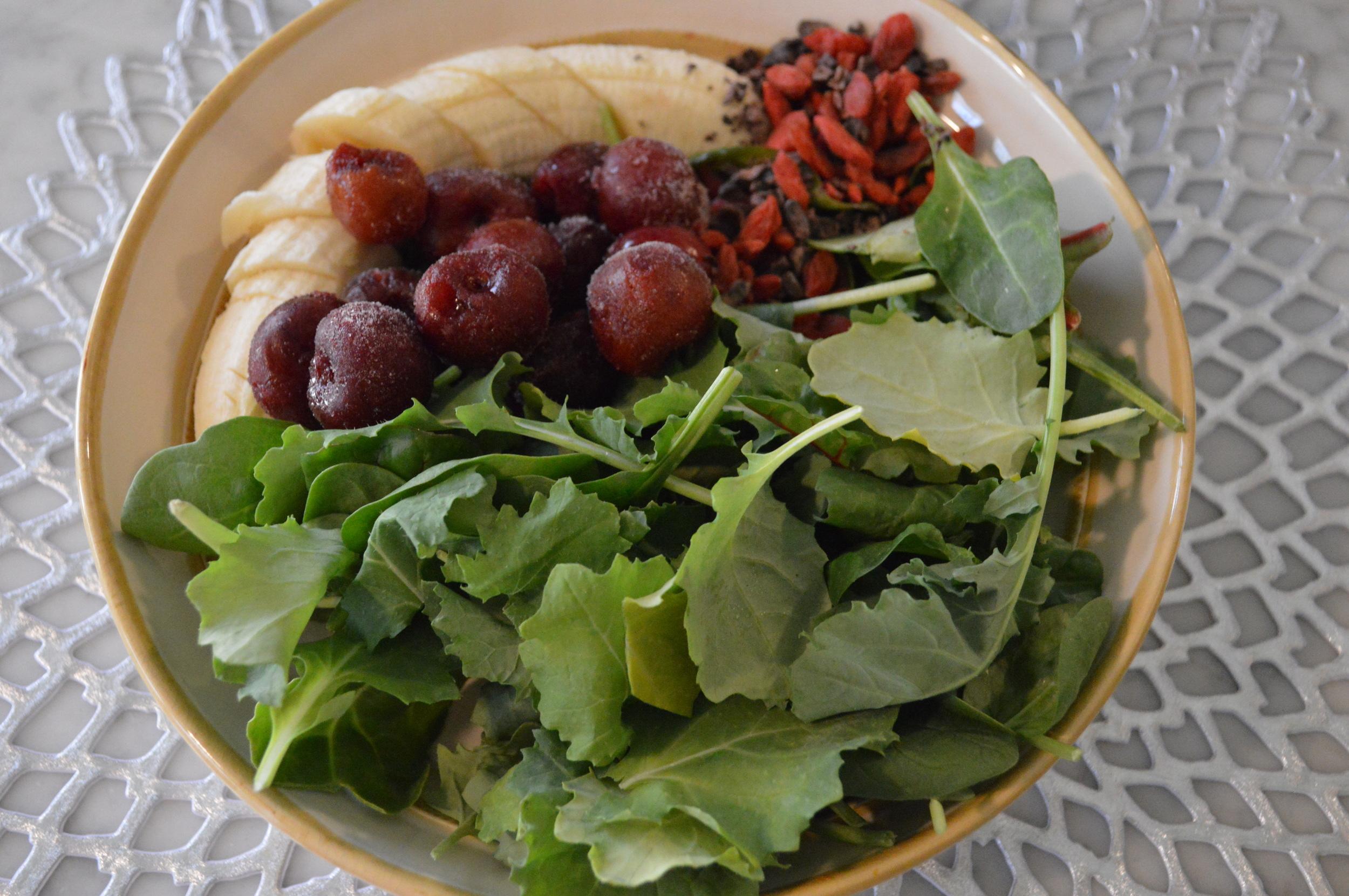 Dark Cherry Banana Green Smoothie - LaurenSchwaiger.com