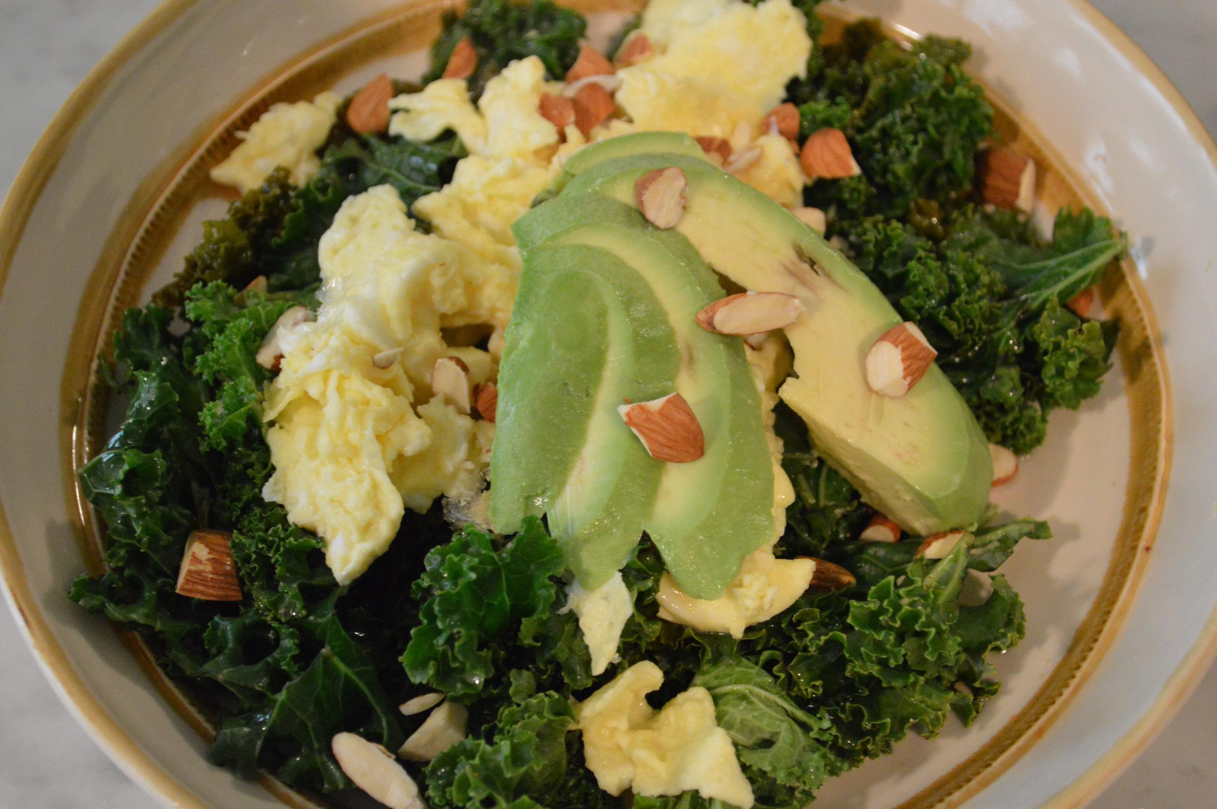 Sauteed kale, Scrambled Eggs & Avocado