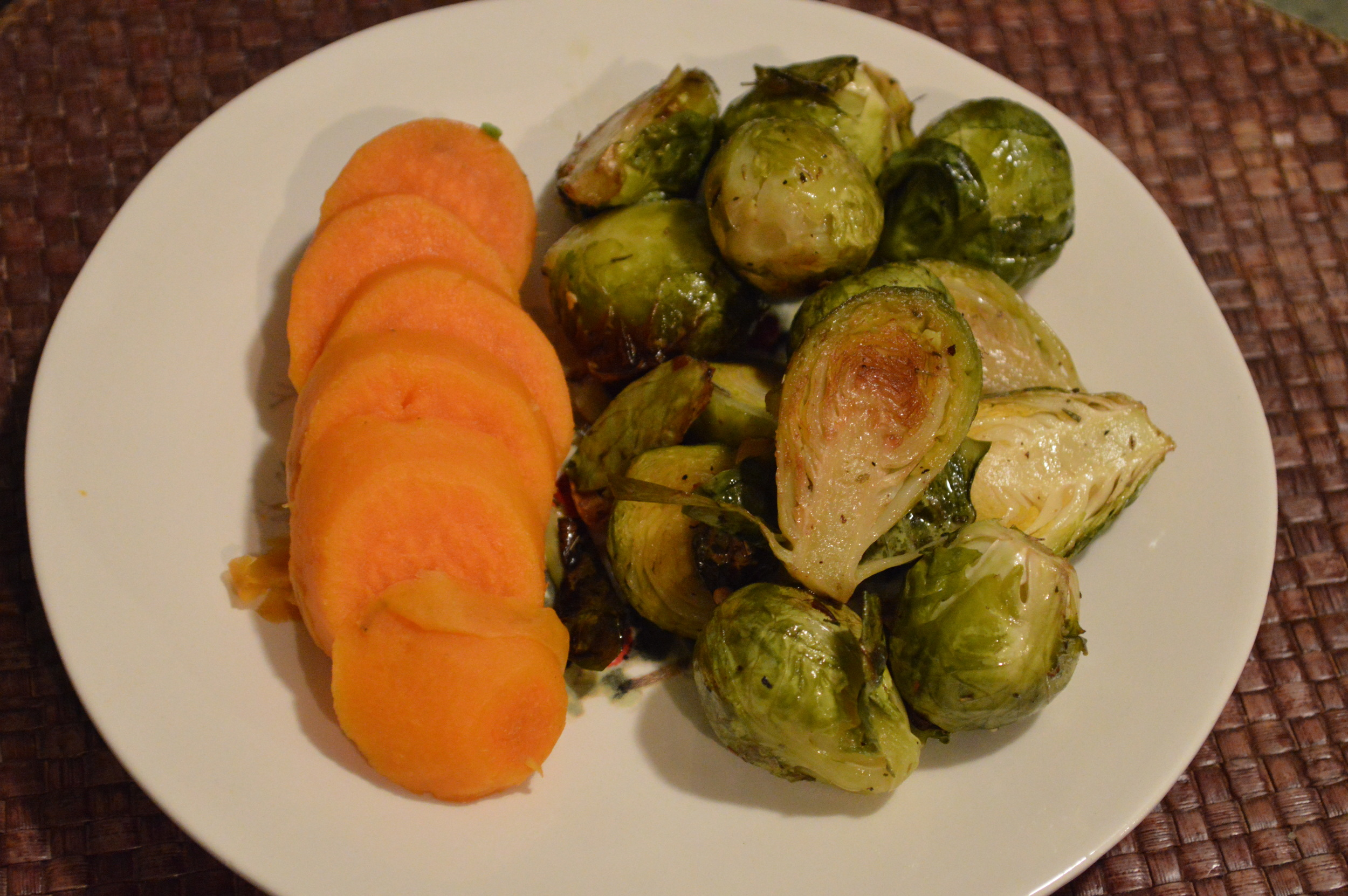 Sweet Potatoes & Roasted Brussels Sprouts