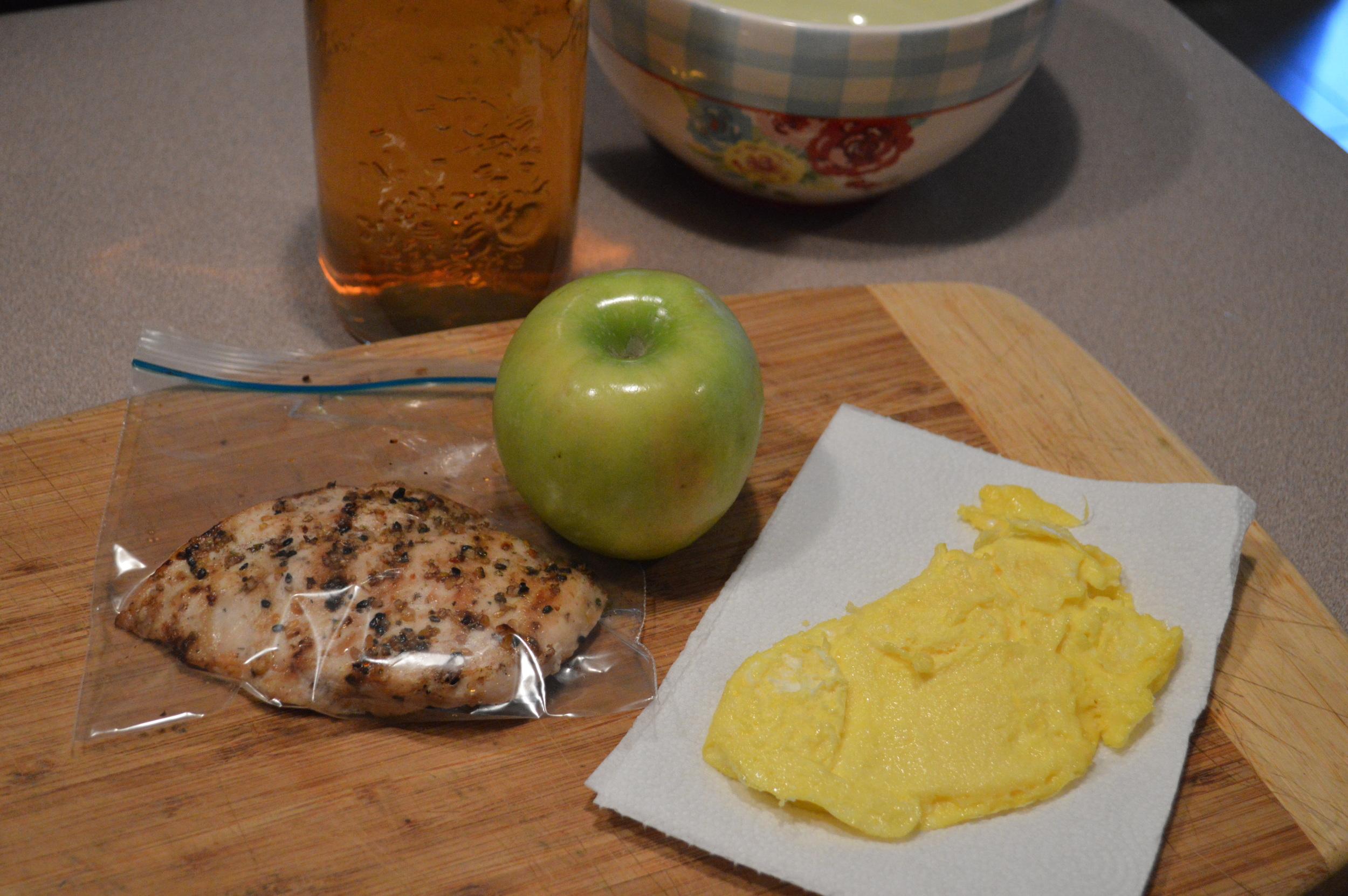 eggs, apple, chicken