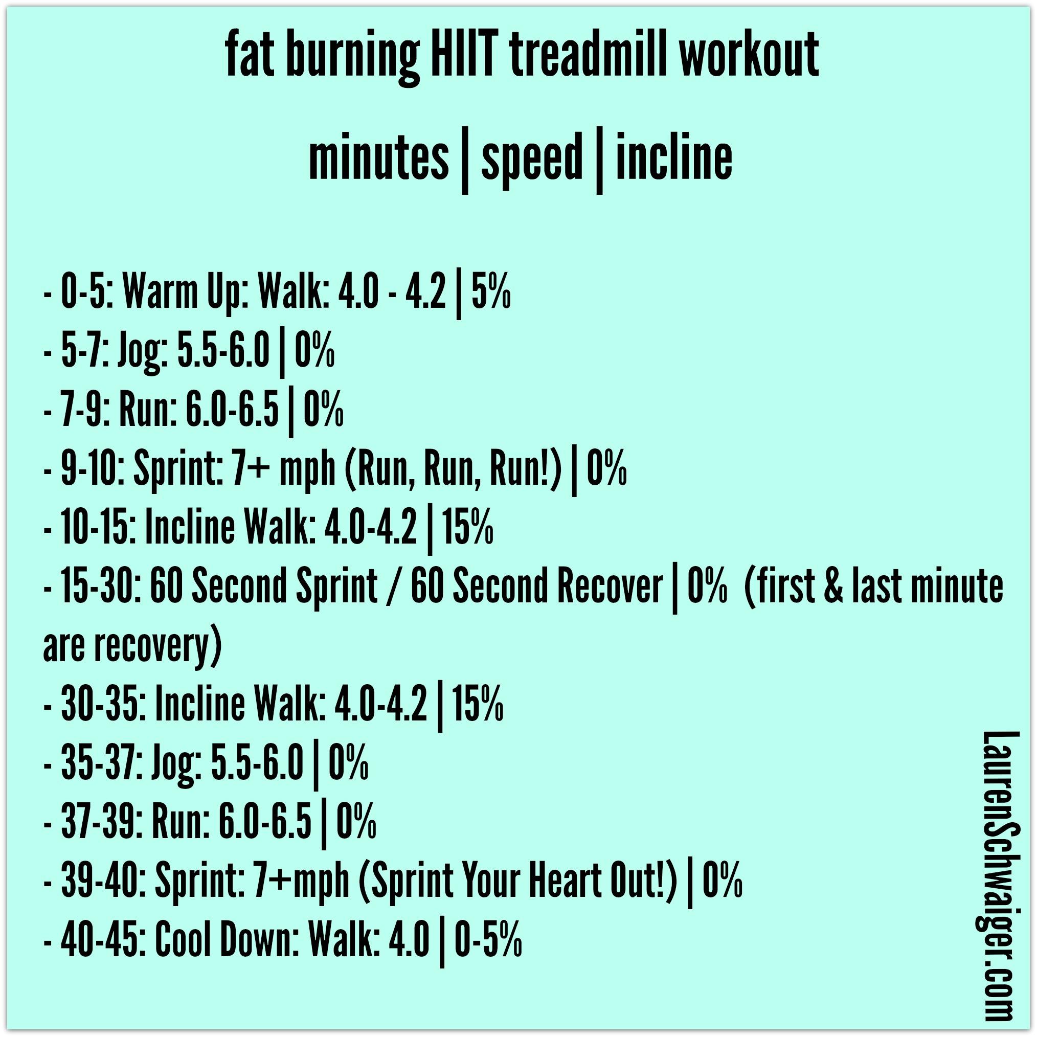 Fat Burning HIIT Treadmill Workout - LaurenSchwaiger.com