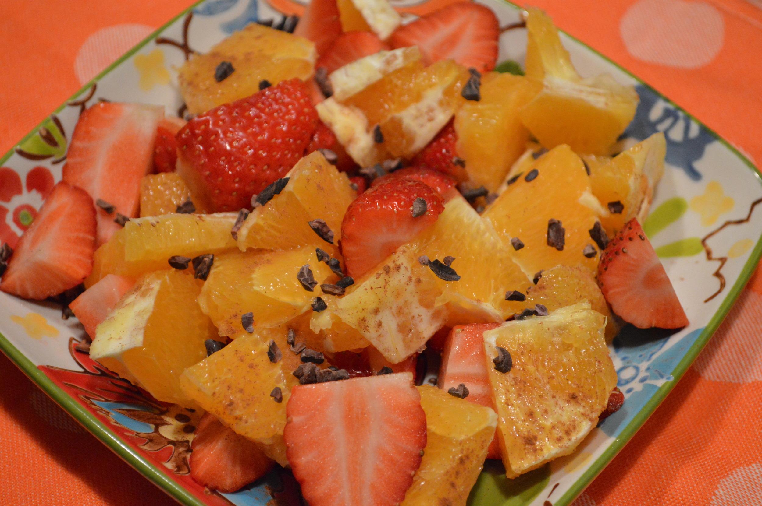 Oranges, Strawberries + Cacao Nibs