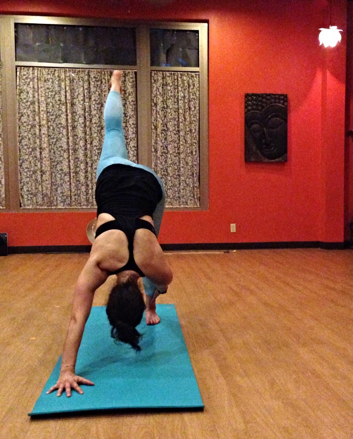Balancing 3-legged Down Dog