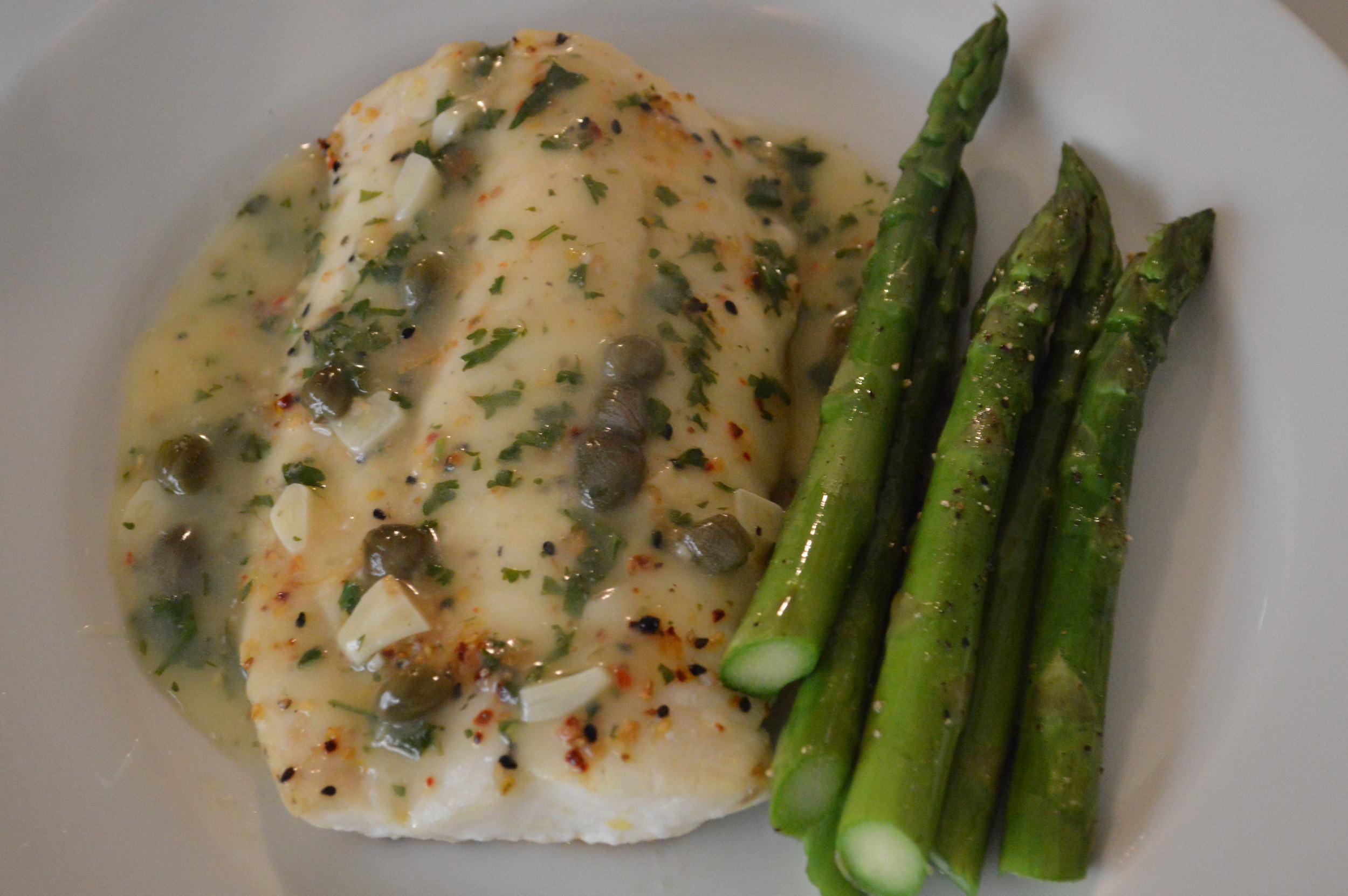 cod + asparagus