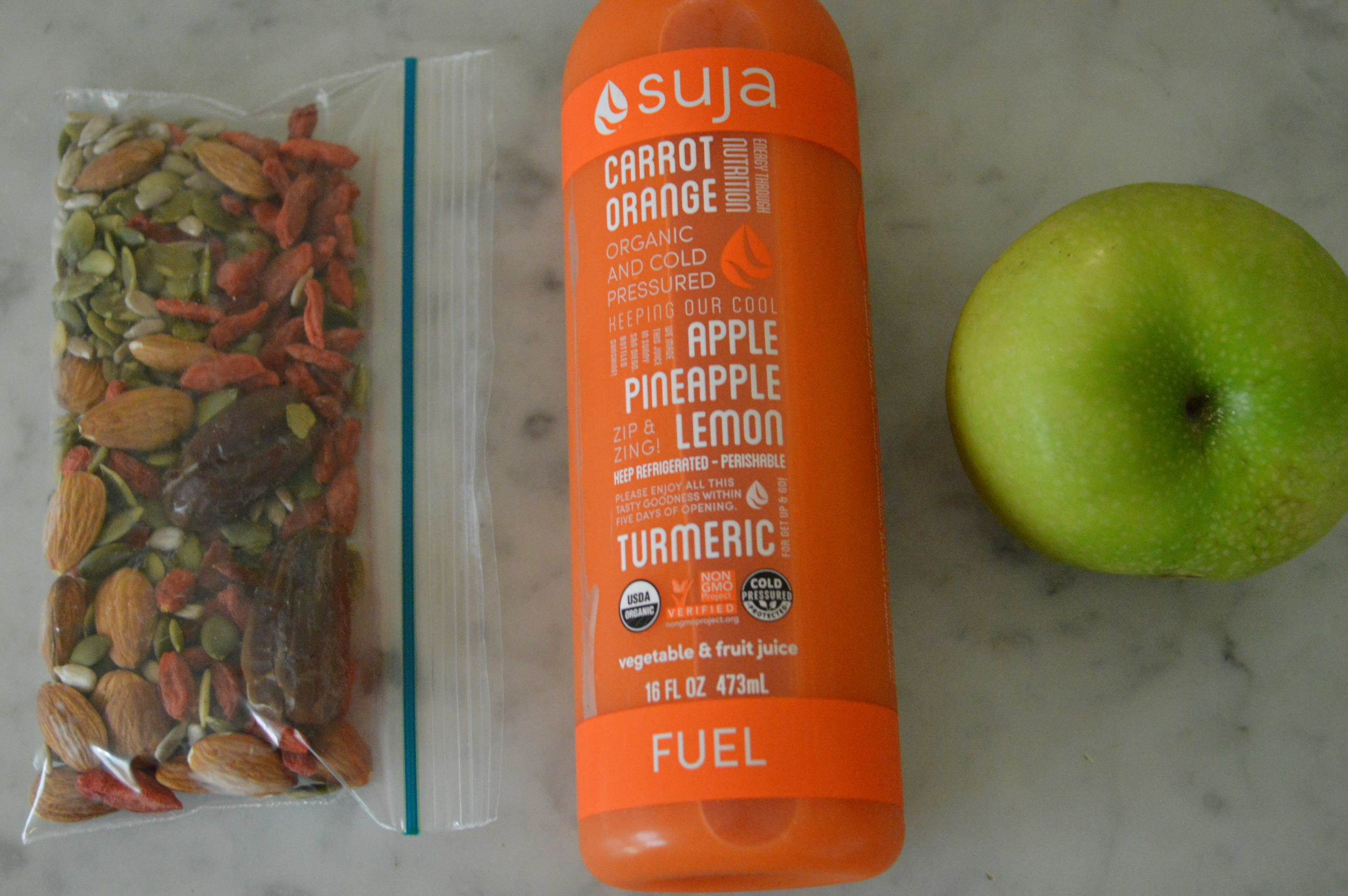 suja carrot juice + snacks