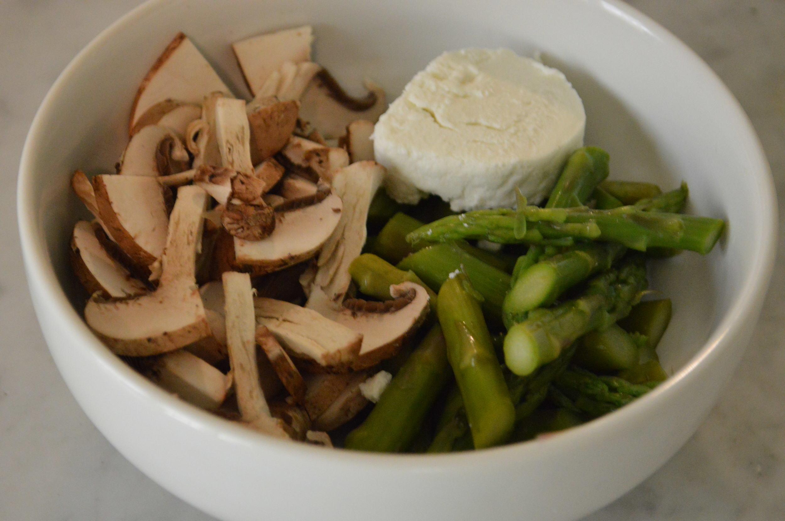 asparagus, mushrooms & goat cheese