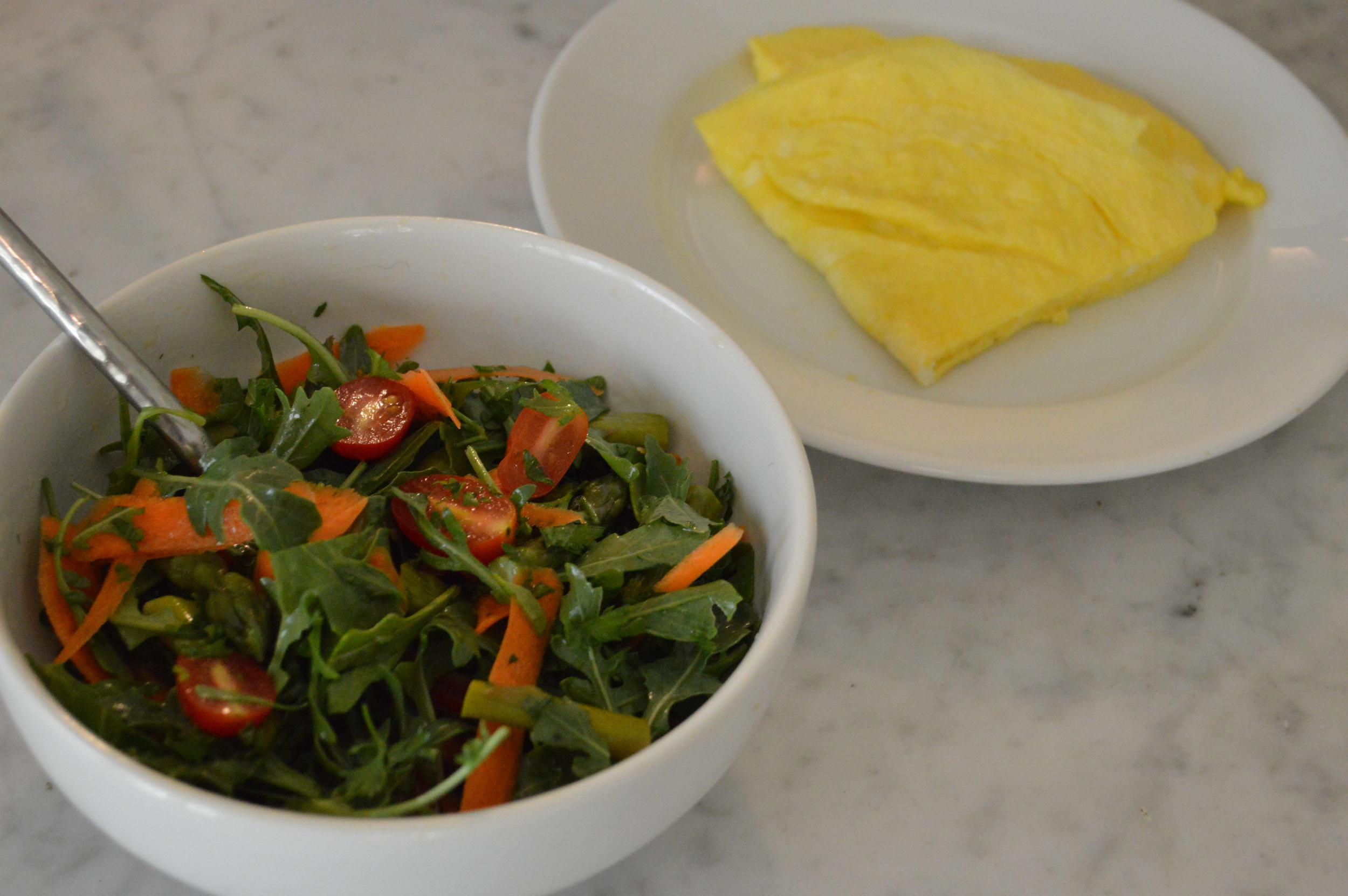 eggs + arugala salad