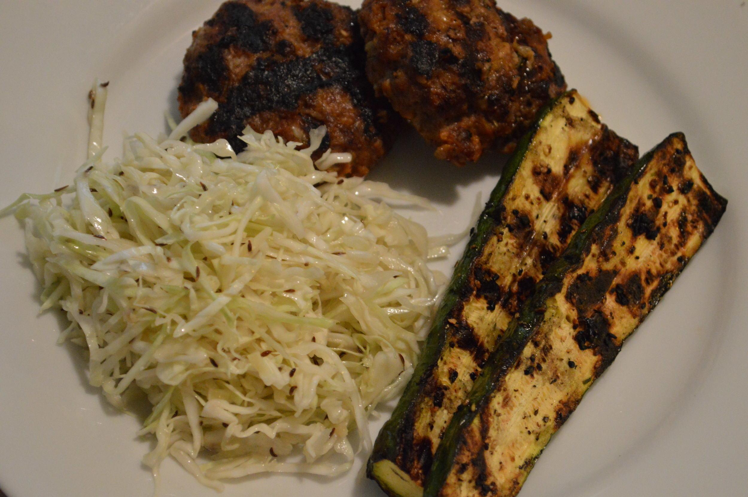 beef & sausage frikadellen & Krautsalat