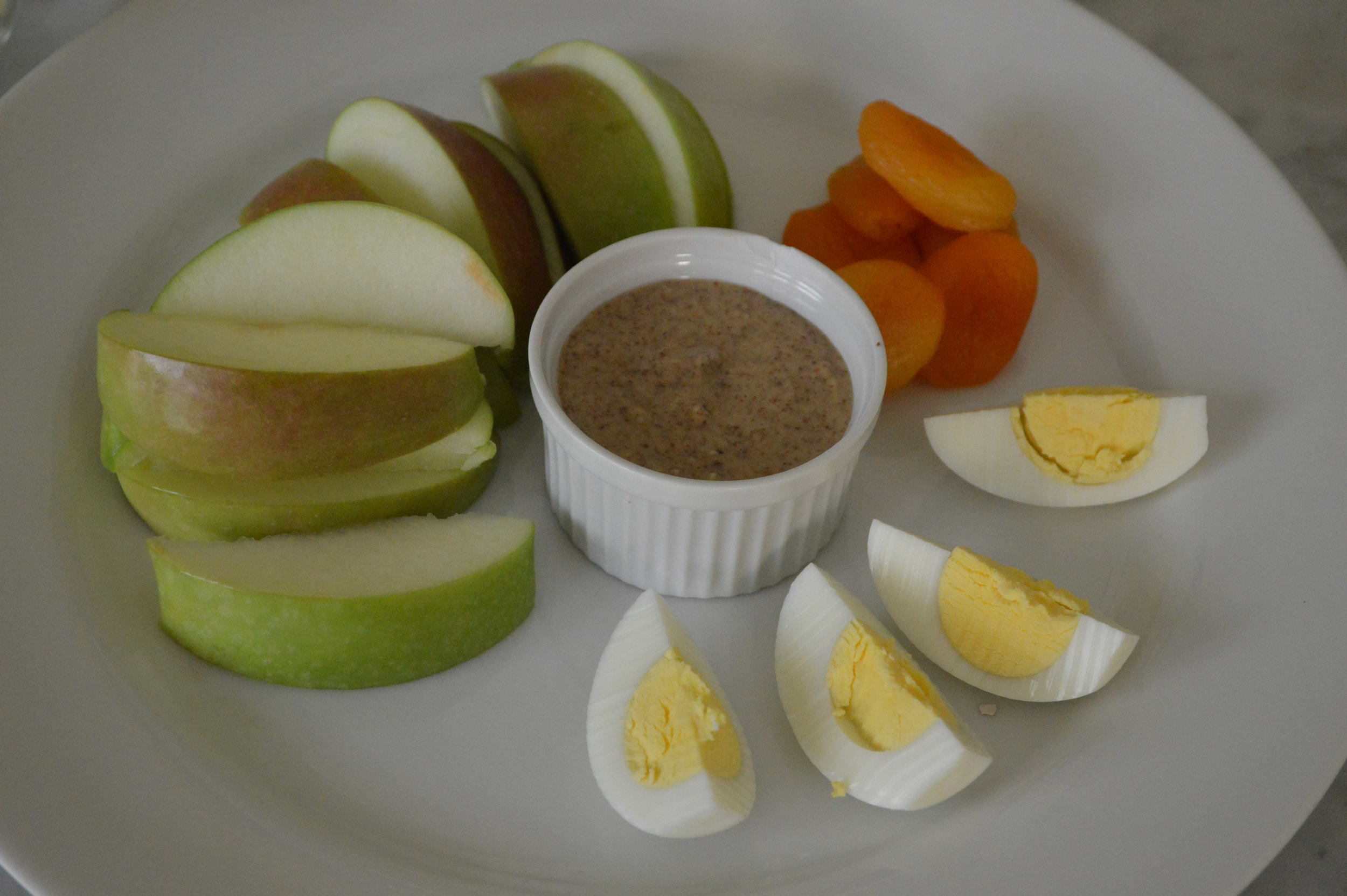apple almond butter and hard boiled egg