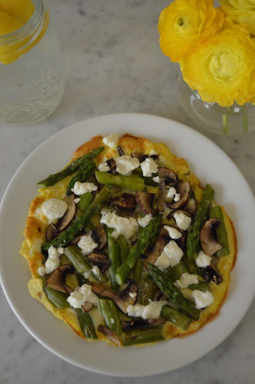 open faced omelette - asparagus, goat chz & mushrooms