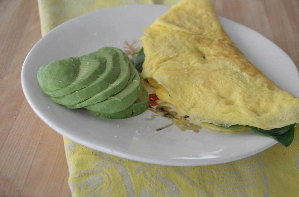 egg & spinach omelette + 1/2 avocado