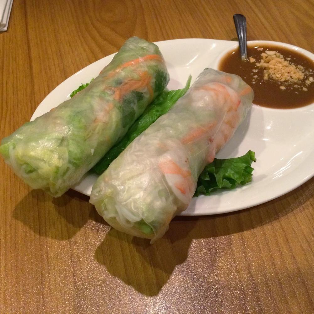 Shrimp Roll + Peanut Sauce!