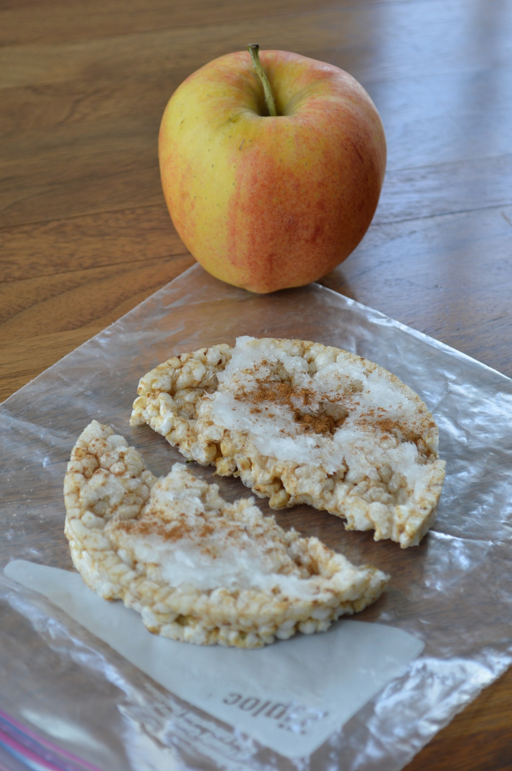 Gala Apple & Rice Cake + Coconut Oil & Cinnamon
