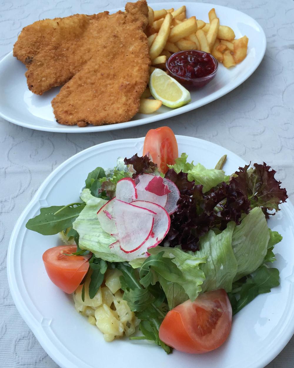 Gemischter Salat + Schnitzel und Pommes