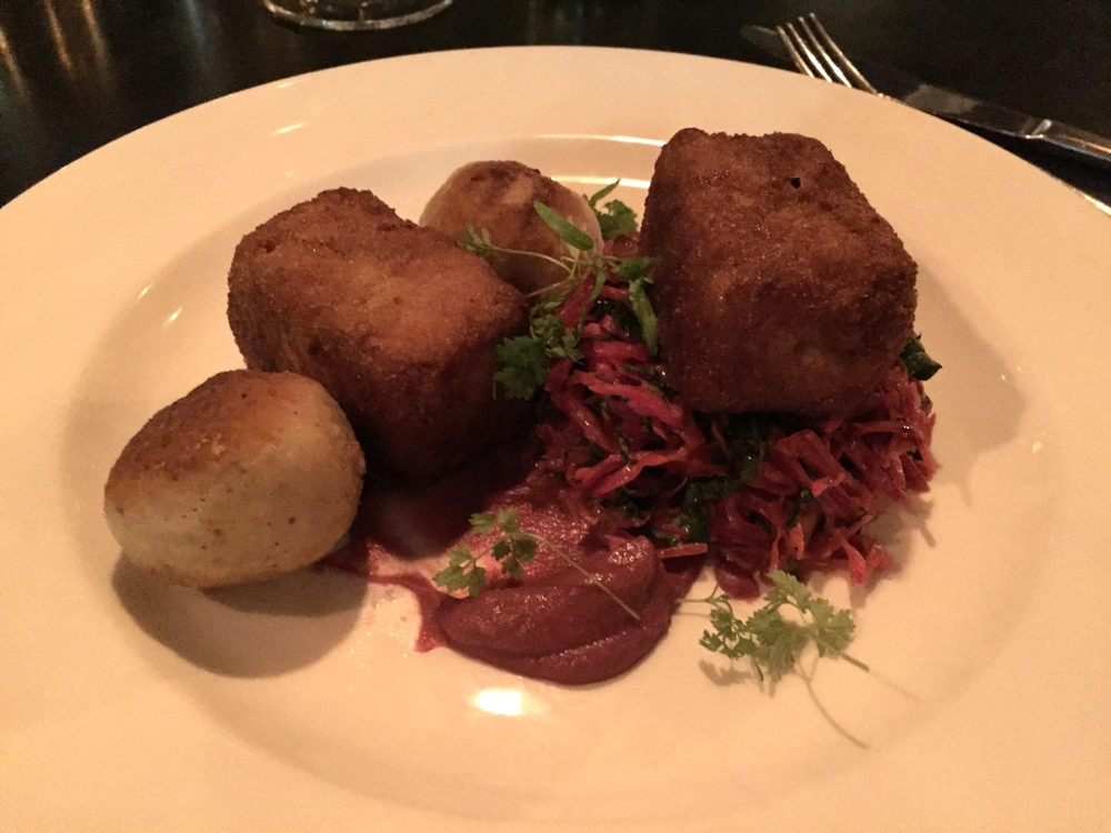 Pork Brick | Bacon Jam Stuffed Matzo Ball, Young Red Kraut Slaw, Cabbage Mustard