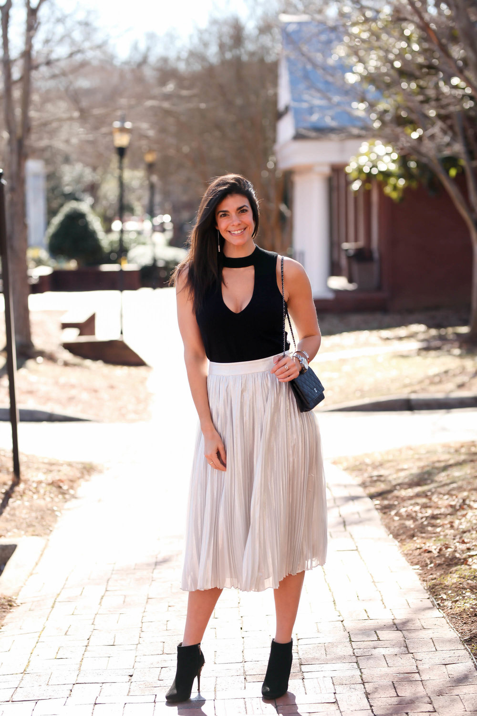 pleated-metallic-skirt-cutout-top-lauren-schwaiger-ootd-inspiration.jpg