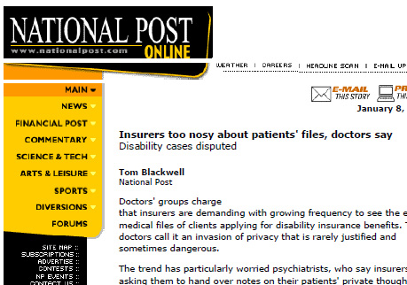 Coverage in National Post on intrusive requests for information in patient mental health records