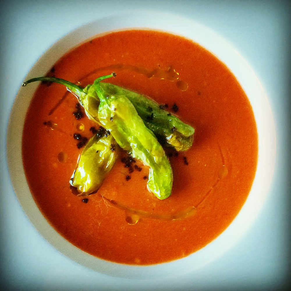 heirloom tomato gazpacho with shishitos