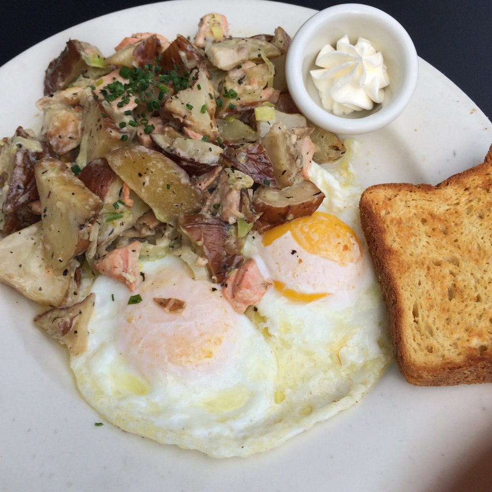 WILD SALMON HASH WITH OVER EASY EGGS - MOTHER'S BISTRO & BAR
