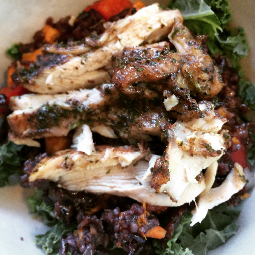 wild rice with roasted organic chicken