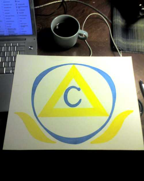 Kate came over and designed the the symbol for the scientology-like religious organization in my film!