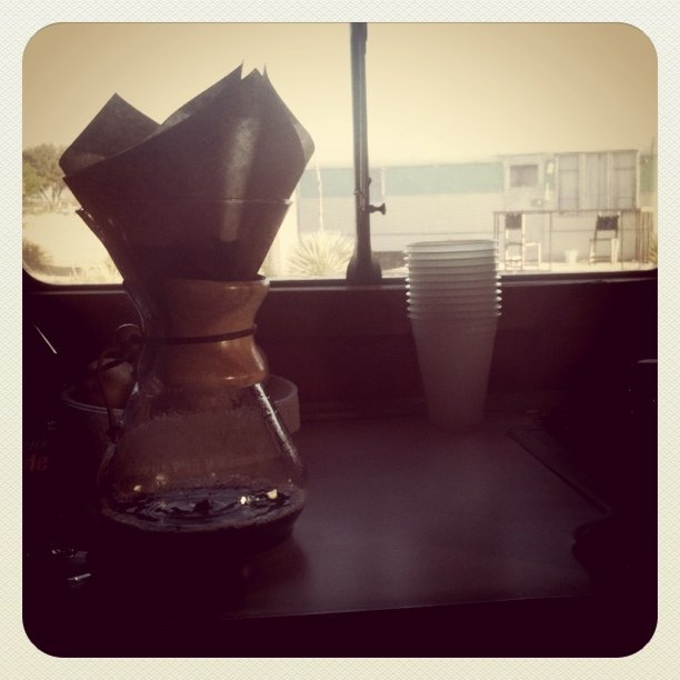 Learning the chemex in a mobile home (Taken with  Instagram  at Marfa, TX)