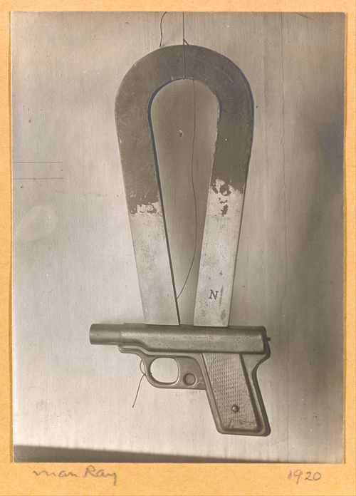 "sympathyfortheartgallery :      iheartmyart :      Man Ray,  Compass, 1920, The Metropolitan Museum of Art, New York    Before leaving Paris for New York in 1921, Man Ray made several constructions that questioned the authority of logic and science over the imagination. This quirky instrument, which he called ""Compass,"" was one. The fields of force to which it might respond are as erratic and potentially as destructive as a game of Russian roulette. After making the exposure, Man Ray characteristically disassembled the magnet-and-pistol device, leaving only this single original print as the reminder of a provocative Dada idea. It is ""purely cerebral yet material"" (as Man Ray said of Marcel Duchamp's ""Large Glass""), whimsical yet deadly earnest. (via  MET )"