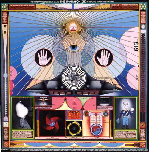 Comments:  The painting depicts an extraterrestrial's exhortation to me, explaining                how to:  1) Link life to death in a continuous experience.   2) Utilize the resulting thanatonic energy to travel faster than                the speed of light,   turn matter into consciousness and back again, alter evolution at                will   and exist simultaneously at every moment of time.  3) Move the entire universe into the fifth dimensional realm,   and say when in history it is possible for this to happen.    I have also received other information I cannot understand.   Since this information was given to me directly but not for me per                se,   it must be communicated to others, many of whom are better prepared                than I to receive it.    Accordingly I was also shown how to make the painting into psychotronic,                or mind-matter interactive device which is   activated by approaching the painting, stretching out your arms,                touching the upright hands and staring into the eye.  By doing this, new information will come to you through the   active use of the divine proportion, which is the   proportion of life connecting to death.   - Paul Laffoley