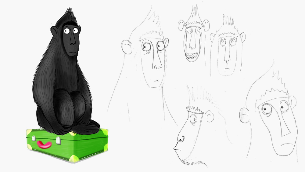 Black Macaque and initial sketches