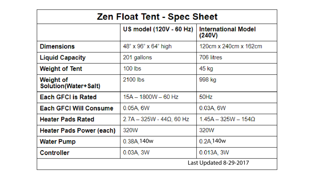 zen float tank spec sheet