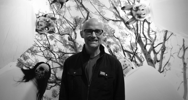 Moby at the opening of his exhibit, Innocents