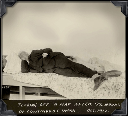 explore-blog: Thomas Edison, born on this day in 1847, napping after a long experiment. Power-napping was one of Edison's secrets to success.